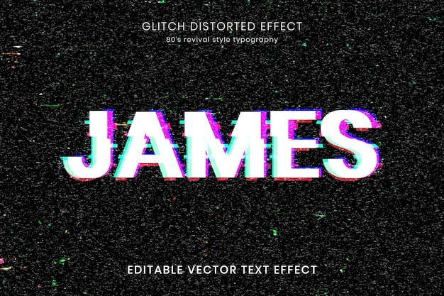 Modelo de efeito de texto editável de falha distorcida