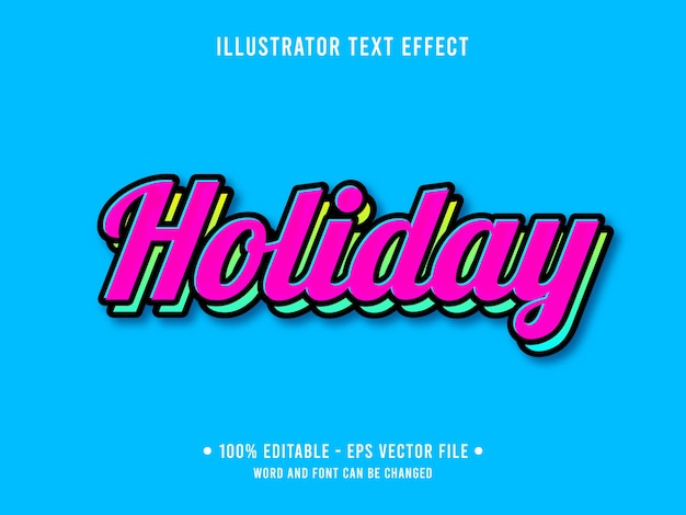 Modelo de efeito de texto editável de feriado