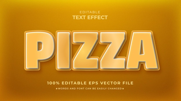Modelo de efeito de texto editável de pizza