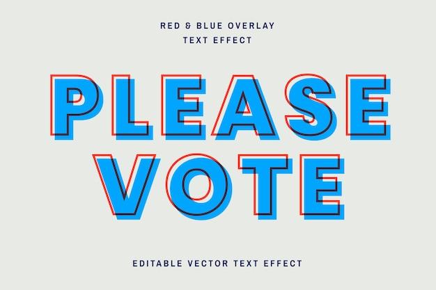 Modelo de efeito de texto editável de sobreposição vermelha e azul
