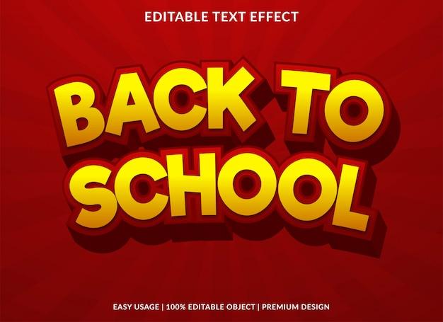 Modelo de efeito de texto editável de volta à escola