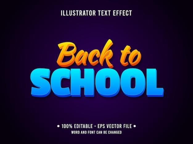 Modelo de efeito de texto editável de volta ao estilo gradiente escolar Vetor Premium