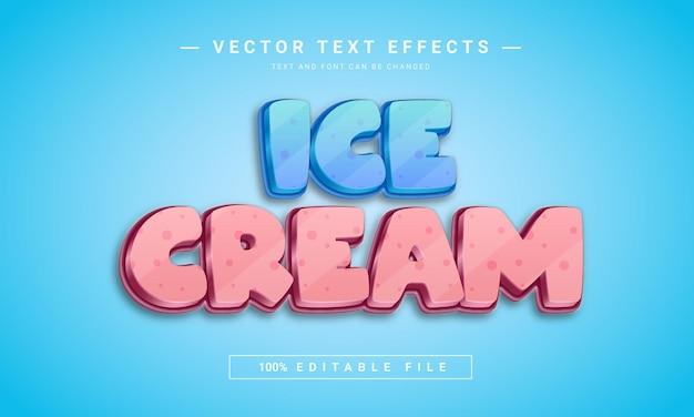 Modelo de efeito de texto editável em 3d ice cream