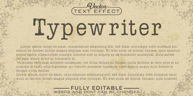 Modelo de efeito de texto editável em máquina de escrever