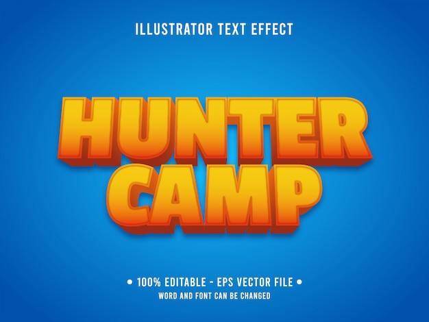 Modelo de efeito de texto editável estilo acampamento caçador laranja