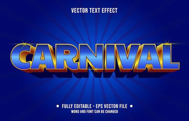 Modelo de efeito de texto editável estilo carnaval azul