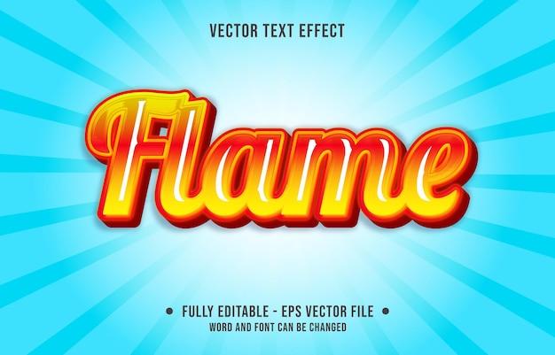 Modelo de efeito de texto editável estilo chama de fogo laranja