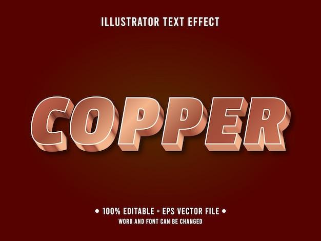 Modelo de efeito de texto editável estilo cobre metálico