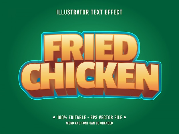 Modelo de efeito de texto editável estilo de comida de frango frito