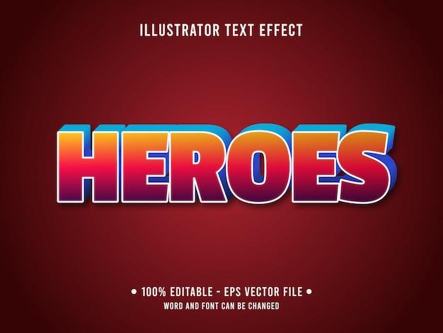 Modelo de efeito de texto editável estilo gradiente de heróis