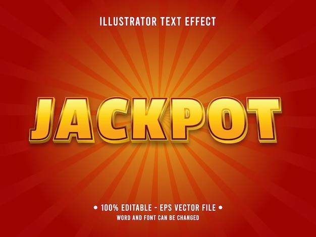 Modelo de efeito de texto editável estilo jackpot amarelo dourado