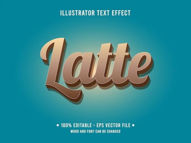Modelo de efeito de texto editável estilo pastel chocolate café latte