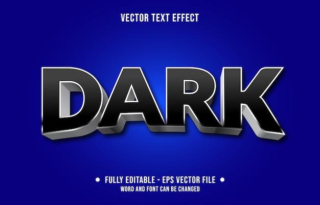 Modelo de efeito de texto editável estilo prata escuro