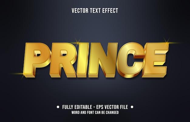 Modelo de efeito de texto editável estilo príncipe dourado