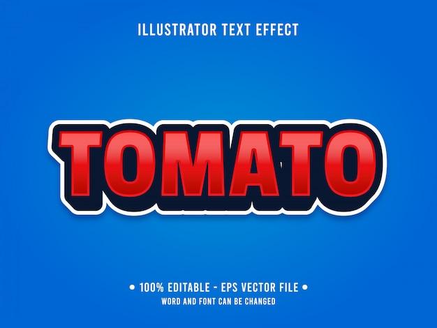 Modelo de efeito de texto editável estilo tomate vermelho