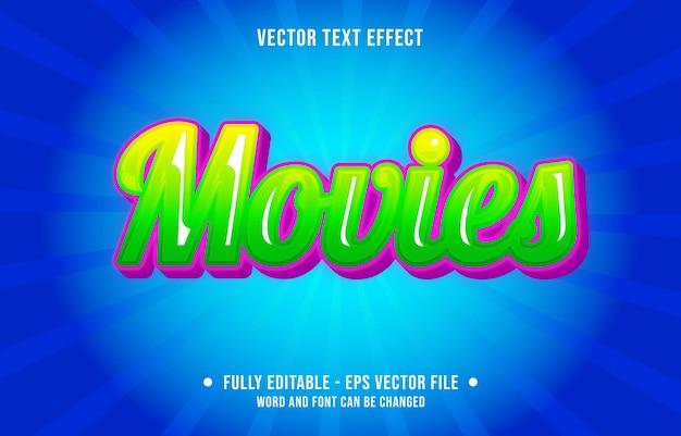 Modelo de efeito de texto editável filmes com gradiente vermelho estilo prêmio