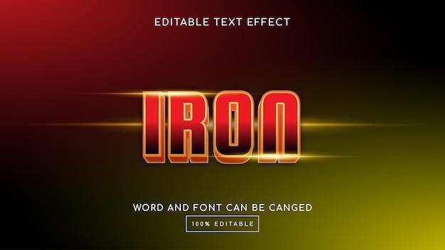 Modelo de efeito de texto editável iron 3d