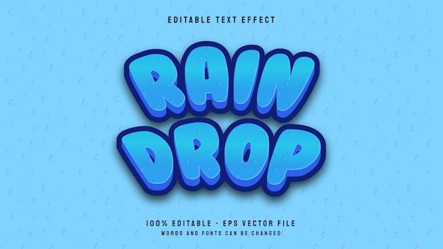 Modelo de efeito de texto editável para jogo de desenho animado em 3d de gota de chuva