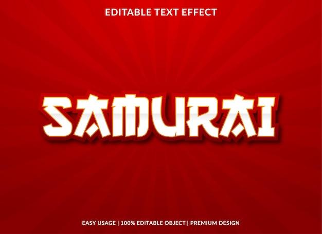 Modelo de efeito de texto editável samurai estilo premium
