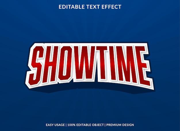 Modelo de efeito de texto editável showtime vetor premium