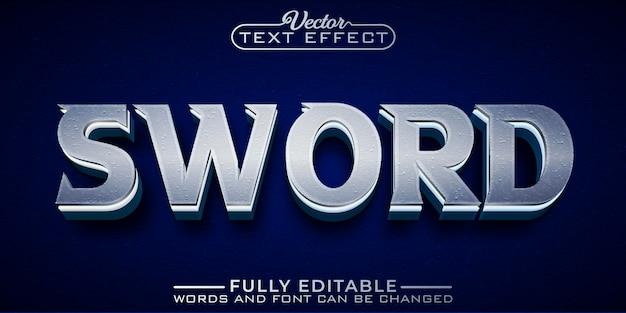 Modelo de efeito de texto editável sword silver