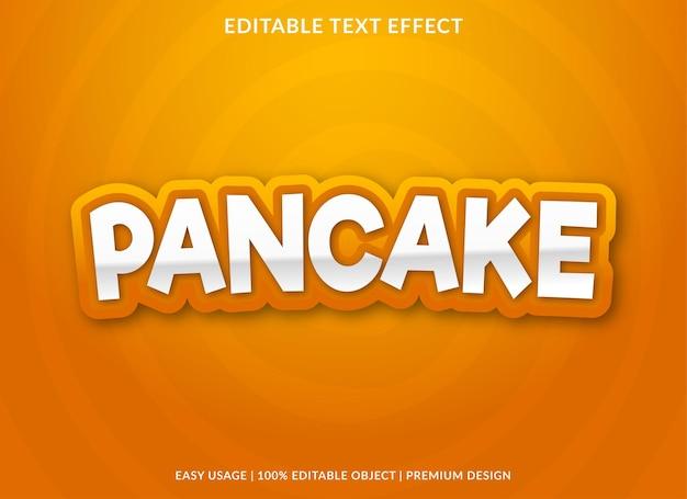 Modelo de efeito de texto em panqueca com uso de estilo abstrato para logotipo comercial e marca
