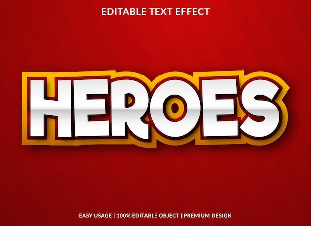 Modelo de efeito de texto heroes com estilo negrito