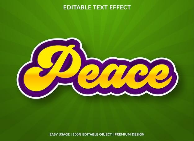 Modelo de efeito de texto paz com estilo retro