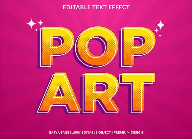 Modelo de efeito de texto pop art com estilo retrô e texto em negrito