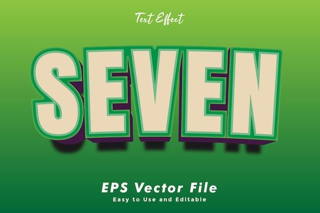 Modelo de efeito de tipografia de texto moderno seven