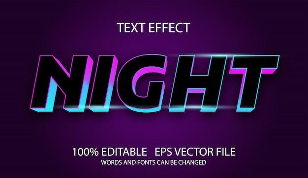 Modelo de efeito noturno de texto editável