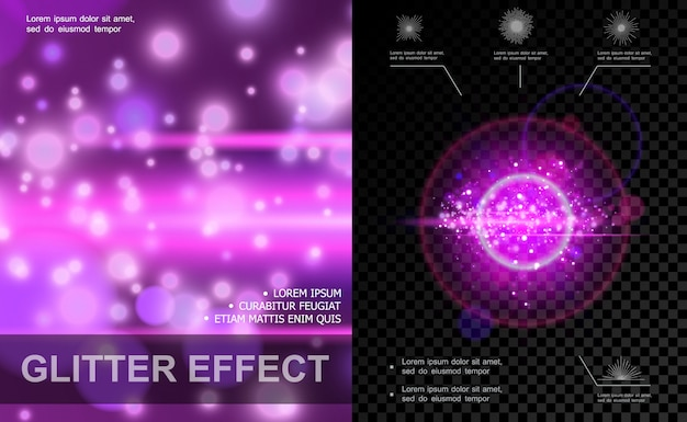 Modelo de efeitos de luz realista roxo com efeitos de brilho e brilho de reflexo de lente de pontos brilhantes