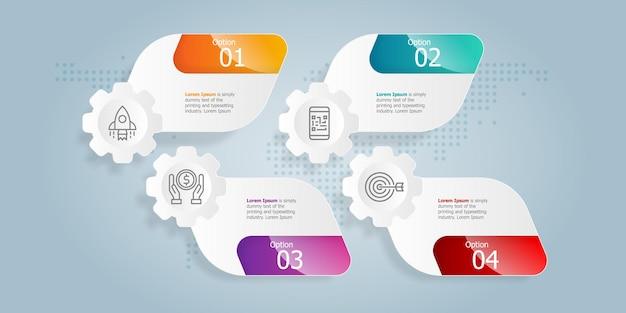 Modelo de elemento de apresentação de infográfico horizontal com ícone de negócios 4 opções de fundo de ilustração vetorial