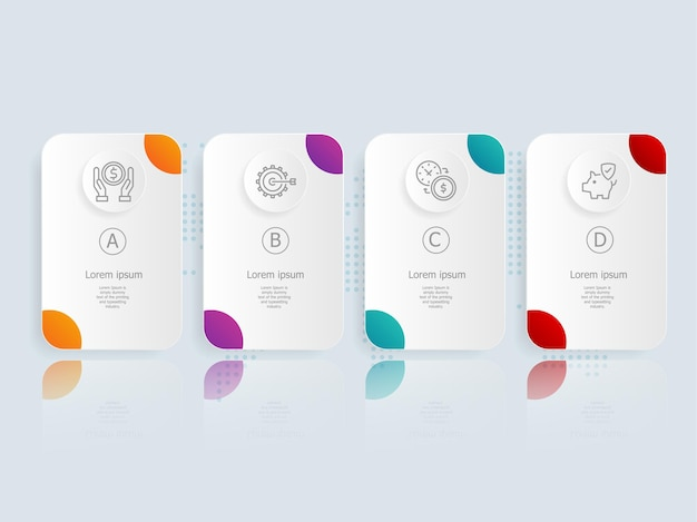 Modelo de elemento de apresentação de infográfico horizontal com ícone de negócios 4 opções