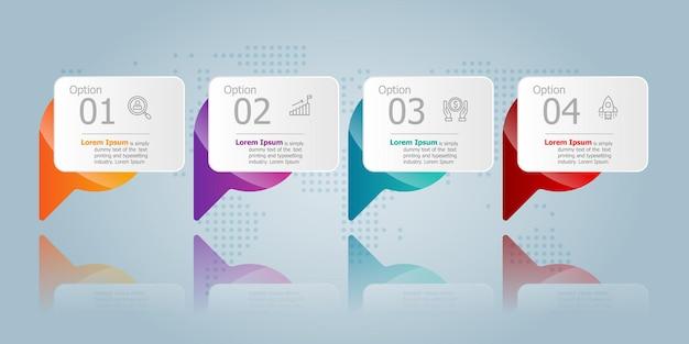 Modelo de elemento de apresentação de infográfico horizontal de bolha de discurso com ícone de negócios 4 opções de fundo de ilustração vetorial