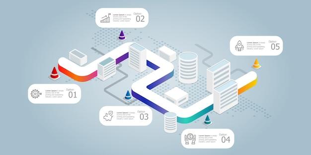 Modelo de elemento de apresentação de infográficos isométricos de estrada com ícones de negócios 5 opções de fundo de ilustração vetorial