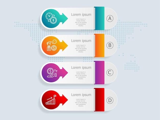 Modelo de elemento de apresentação de infográficos verticais com ícone de negócios 4 opções