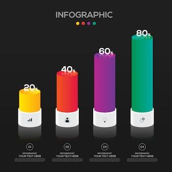 Modelo de elemento de design de infográfico negócios para apresentação com 4 opções