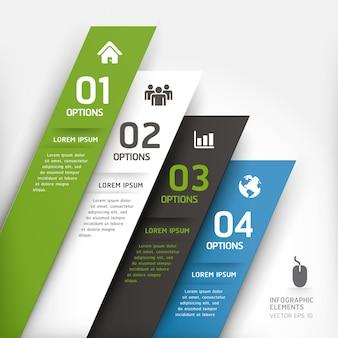 Modelo de elemento de design moderno pode ser usado para layout de fluxo de trabalho, diagrama, opções de números, intensificar as opções, web design, infográficos.