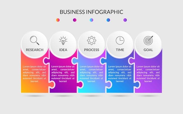 Modelo de elemento de infográfico de negócios modernos 5 etapas