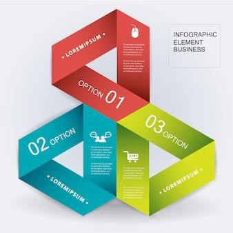 Modelo de elemento de infográfico de origami triângulo