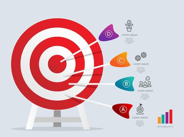 Modelo de elemento de infográficos de destino dartboarad com apresentação de 4 etapas de ícones de negócios