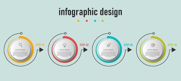 Modelo de elementos de círculo infográfico