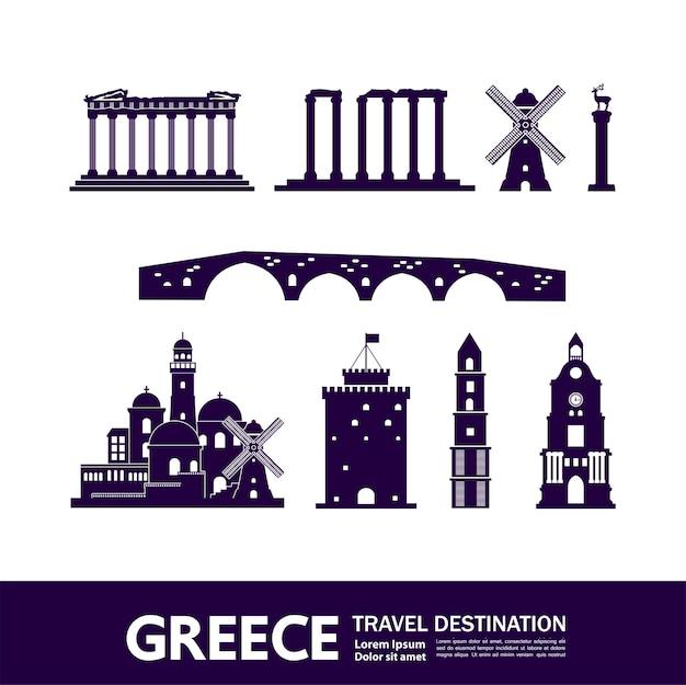 Modelo de elementos de destino de viagem na grécia