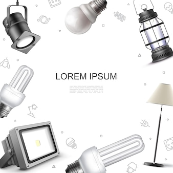 Modelo de elementos de iluminação realistas com holofotes, lâmpada de piso, lâmpadas e lanterna