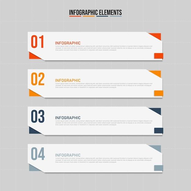 Modelo de elementos de infográfico colorido, conceito de negócio com 4 opções