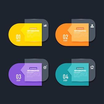 Modelo de elementos de infográfico colorido Vetor Premium