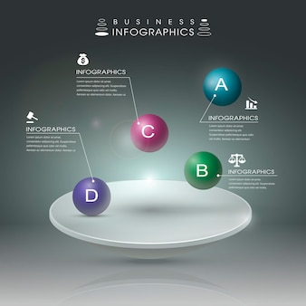 Modelo de elementos de infográfico de bola brilhante 3d realista