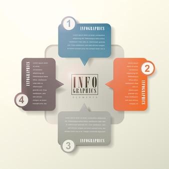 Modelo de elementos de infográfico de bolha de discurso moderno e plano