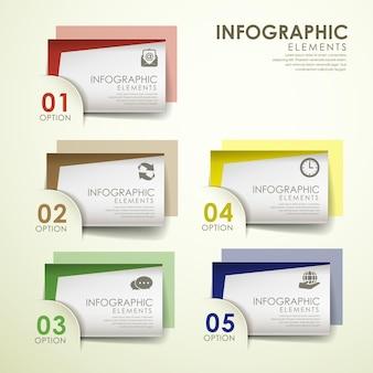 Modelo de elementos de infográfico de cartão de papel colorido abstrato
